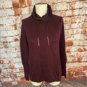 Eddie Bauer burgundy funnel cowl neck sweater xs s